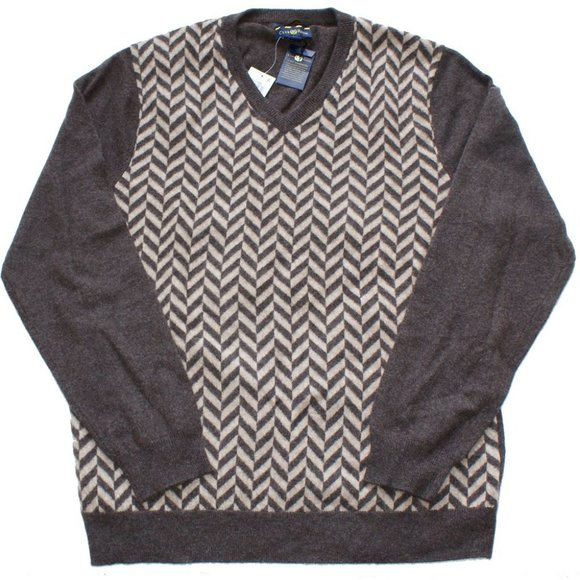 Club Room Other - Chevron 100% 2-Ply Cashmere V-Neck Sweater XL